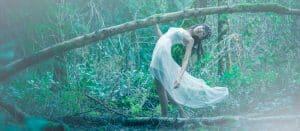 fairy walking in forest